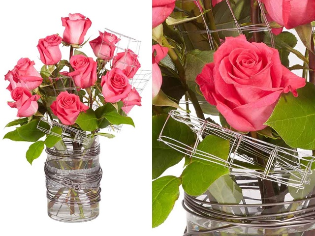 Pink roses arranged with floral wire